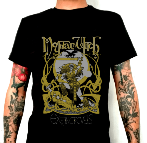 Mountain Witch doom queens shirt mockup senfgelb silber